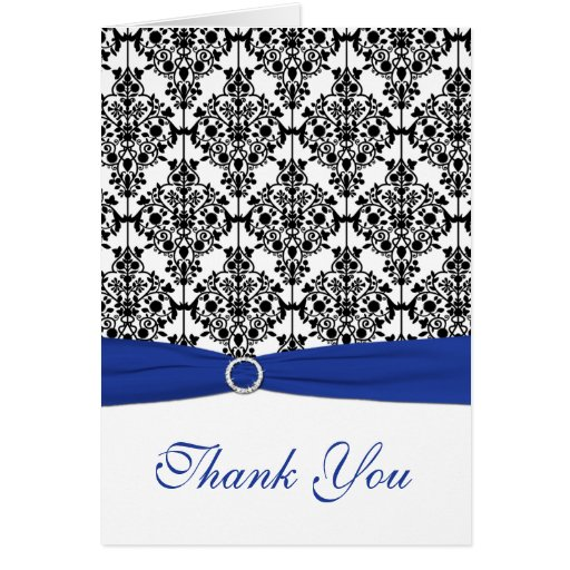 Royal Blue, White, and Black Damask Thank You Card Card