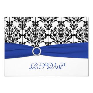 "Royal Blue, White, Black Damask Reply Card 3.5"" X 5"" Invitation Card"