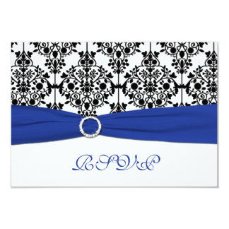 Royal Blue, White, Black Damask Reply Card Personalized Invitations