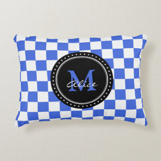 Royal Blue White Checkerboard Pattern Accent Pillow