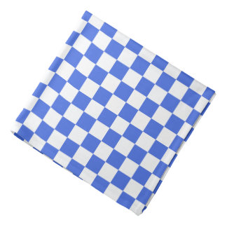 Royal Blue White Checkerboard Pattern Kerchief