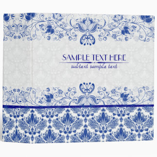 Royal Blue & White Elegant Vintage Floral Damask Binder