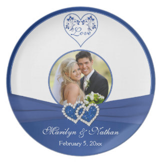 Royal Blue, White Floral Heart Wedding Plate