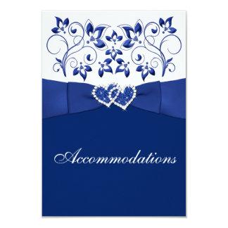 Royal Blue, White Floral, Hearts Enclosure Card