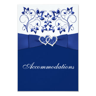 "Royal Blue, White Floral, Hearts Enclosure Card 3.5"" X 5"" Invitation Card"