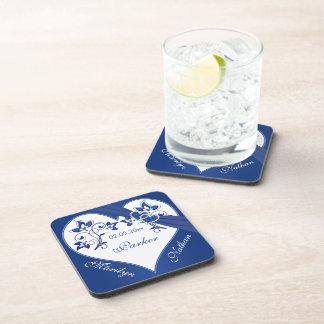Royal Blue, White Floral Wedding Coaster Set (6)