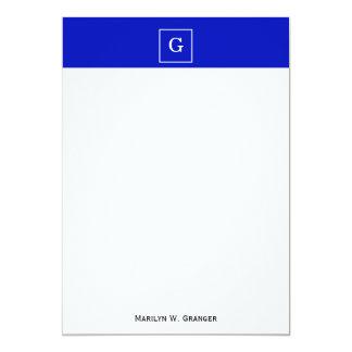 "Royal Blue White Framed Initial Monogram 5"" X 7"" Invitation Card"