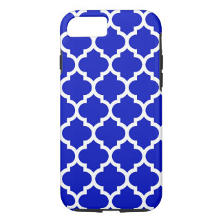 Royal Blue White Moroccan Quatrefoil Pattern #5 iPhone 7 Case