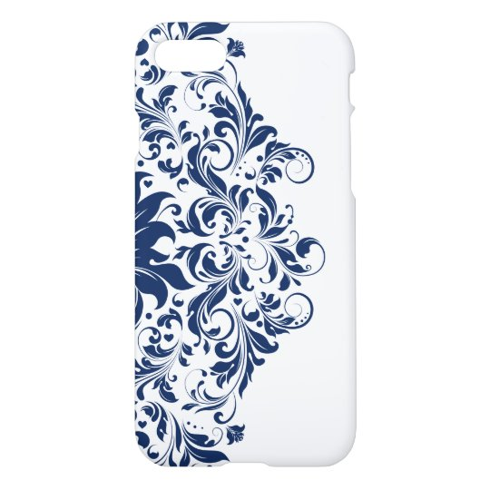 Royal Blue & White Swirly Floral Lace iPhone 8/7 Case