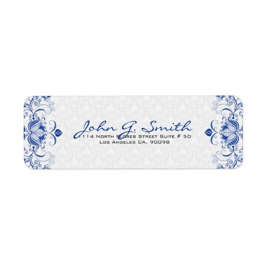 Royal Blue & White Vintage Floral Swirls & Damasks Return Address Label