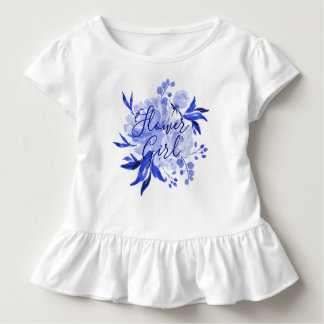 Royal Blue White Watercolor Bouquet Flower Girl Toddler T-shirt