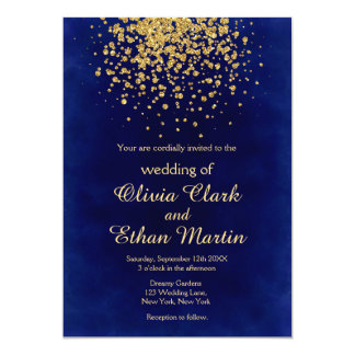 Royal Blue with a Splash of Gold Invitation