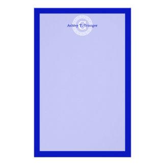 Royal Blue Wt Greek Key Rnd Frame Initial Monogram Stationery Paper