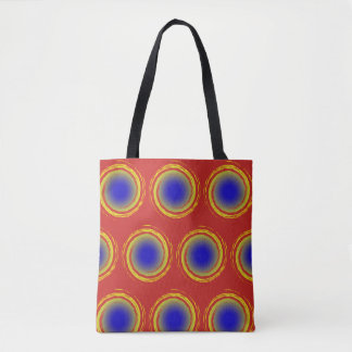 Royal Blue Yellow and Red Swirling Circle Beach Tote Bag