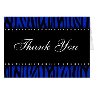 Royal Blue Zebra Printed Diamonds Thank You Card