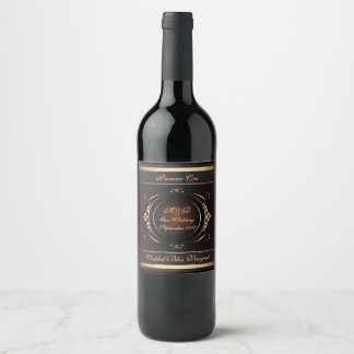 Royal burgundy and Gold Flourish Wedding Wine Label