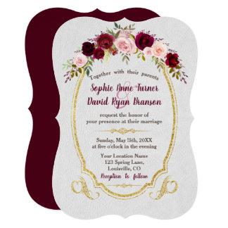 Royal Burgundy Gold Marsala Floral Wedding Card