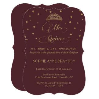 Royal Burgundy Gold Mis Quince Script Quinceañera Card