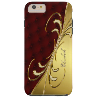 Royal Burgundy Leather Golden Design iPhone 6 Plus Tough iPhone 6 Plus Case