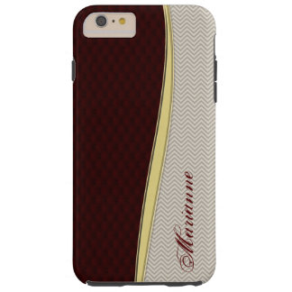 Royal Burgundy Leather iPhone 6 Plus Monogram Case