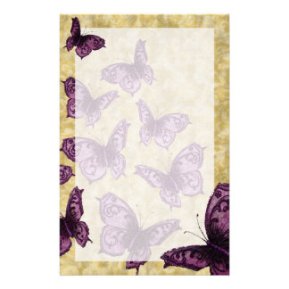Royal Butterflies (Violet) Stationery Paper