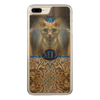 Royal Cat Animal Print Monogram Carved iPhone 8 Plus/7 Plus Case