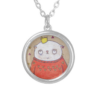 royal cat king pin silver plated necklace
