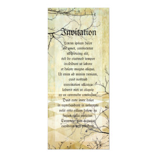 """Royal Coordinates Background with Branches 4"""" X 9.25"""" Invitation Card"""