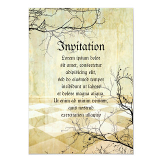"""Royal Coordinates Background with Branches 5"""" X 7"""" Invitation Card"""