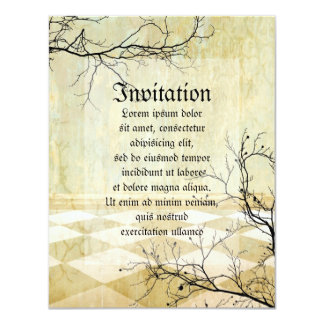 """Royal Coordinates Background with Branches 4.25"""" X 5.5"""" Invitation Card"""