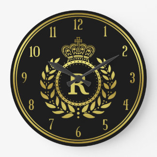 Royal Crown Laurel Wreath Black Gold Monogrammed Clocks