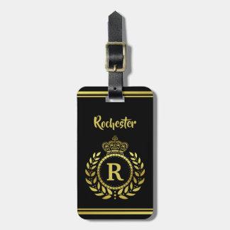 Royal Crown Laurel Wreath Black Gold Monogrammed Luggage Tag