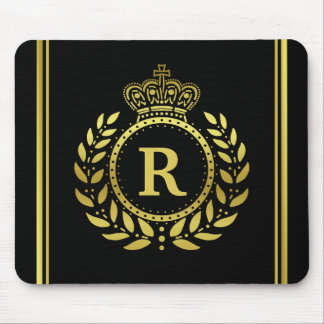Royal Crown Laurel Wreath Black Gold Monogrammed Mouse Pad
