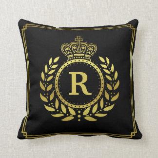 Royal Crown Laurel Wreath Black Gold Monogrammed Throw Pillow