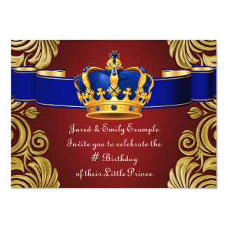"Royal Crown Prince Birthday Party 4.5"" X 6.25"" Invitation Card"