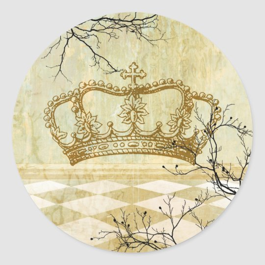 Royal Crown with Branches Classic Round Sticker