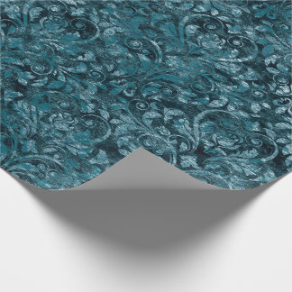 Royal Damask Crushed Velvet Aquatic Deep Tiffany Wrapping Paper