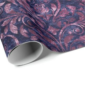 Royal Damask Crushed Velvet Blue Navy Pink Plum Wrapping Paper