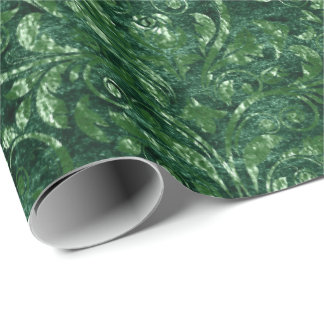 Royal Damask Crushed Velvet Woodland Emerald Green Wrapping Paper