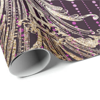 Royal Damask Floral Drops Purple Faux Gold Wrapping Paper