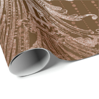 Royal Damask Metal Floral Drops Bronze Ivory Beige Wrapping Paper