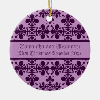 Royal Damask purple and lavender first Christmas Ceramic Ornament