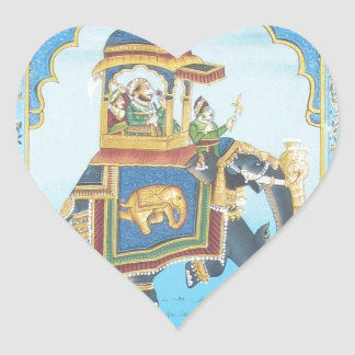 ROYAL ELEPHANT RIDE VINTAGE INDIAN ART HEART STICKER