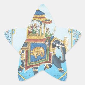 ROYAL ELEPHANT RIDE VINTAGE INDIAN ART STAR STICKER