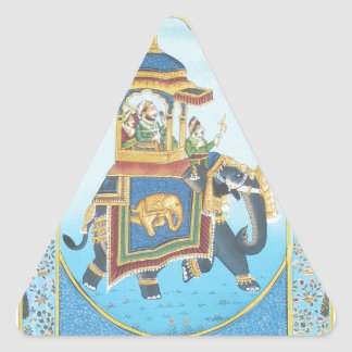 ROYAL ELEPHANT RIDE VINTAGE INDIAN ART TRIANGLE STICKER