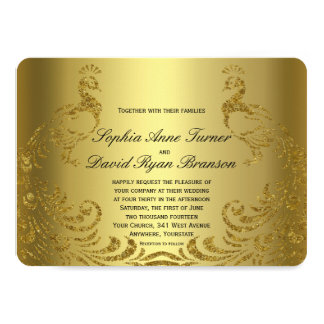 Royal Faux Gold Abstract Peacock Wedding Invite