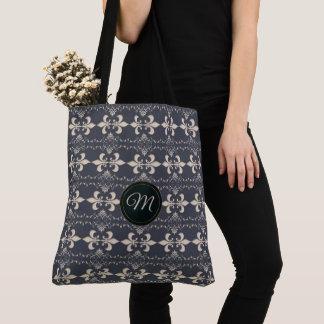 Royal fleur-de-lis navy pattern.monogram. tote bag