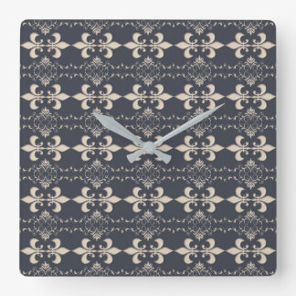 Royal Fleur-de-Lis pattern. Square Wall Clock