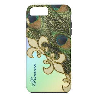 Royal Fleur-de-lis Peacock iPhone 7 Plus Monogram iPhone 8 Plus/7 Plus Case