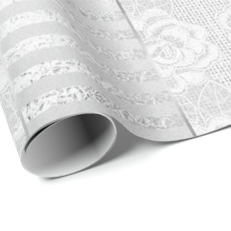 Royal Floral Roses Silver White Lace Stripes Linen Wrapping Paper